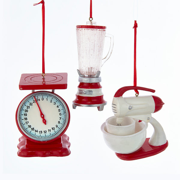 50's Red & White Kitchen Mixer, Scale & Blender Ornaments