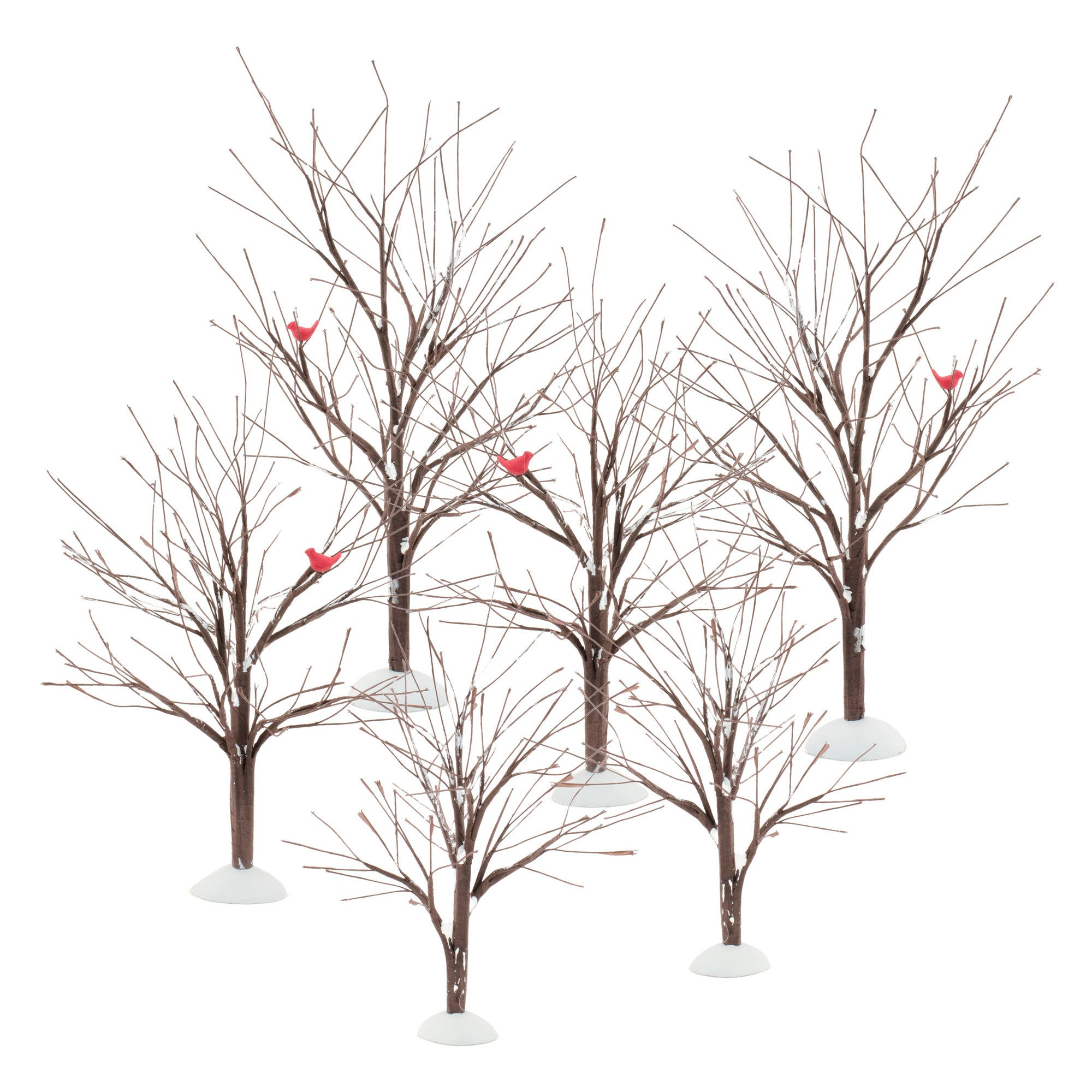 Winter Trees with Cardinals for Christmas Villages and Train Sets