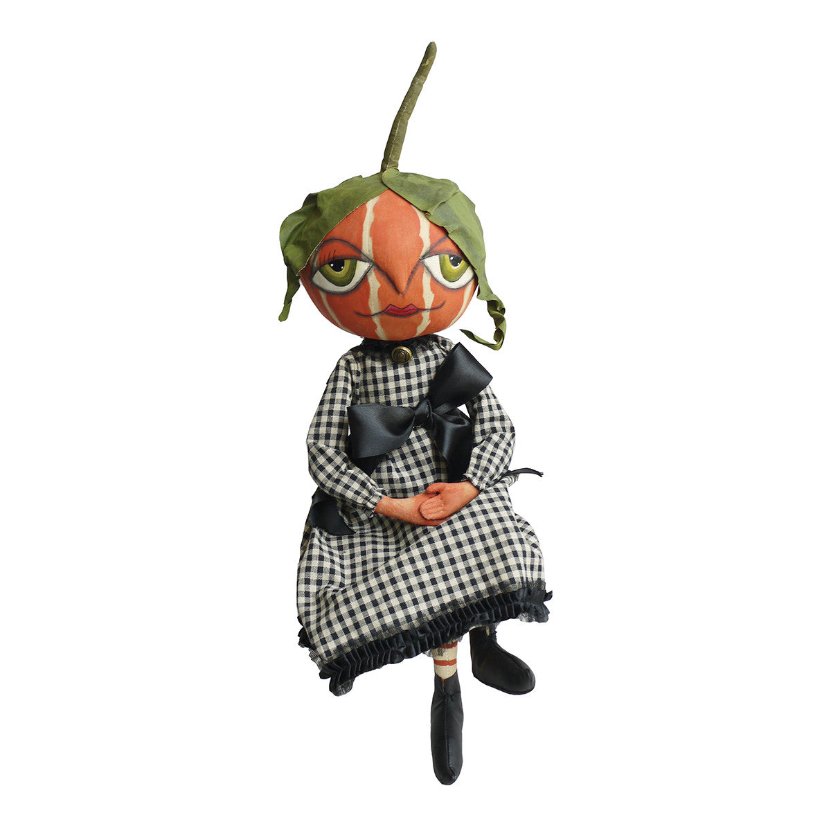 Joe Spencer Gretzy Pumpkin Girl - Cloth Halloween Doll