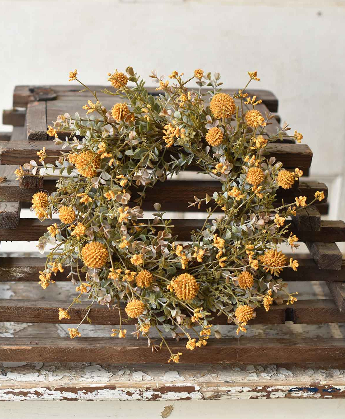 Fall Flower Candle Ring, Mustard Yellow