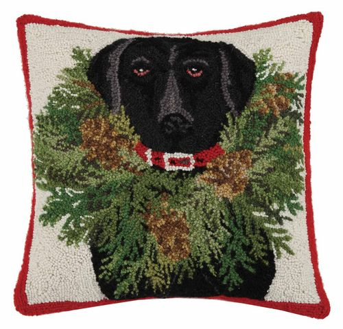 Black Lab Dressed in Christmas Wreath Pillow