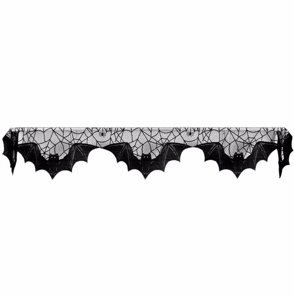 Bats Mantle Scarf - Black Lace Halloween Decor for Vampires