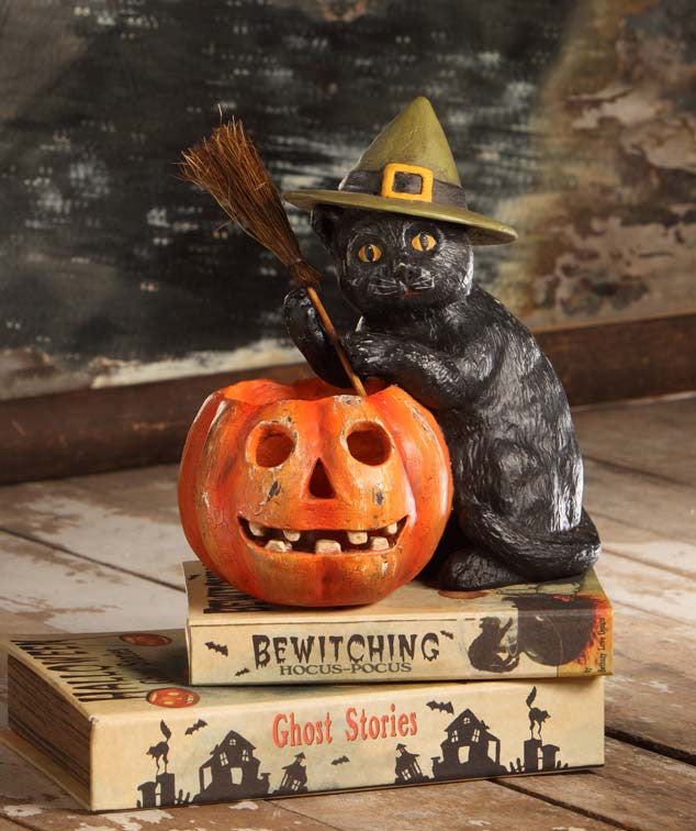 Black Cat With Votive - Vintage Style Halloween by Bethany Lowe