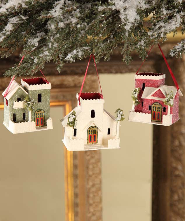 Christmas House Bucket Ornaments