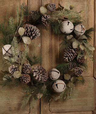 Sleigh Bell and Pinecone Wreath