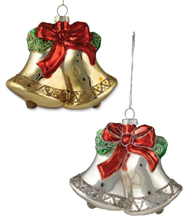 Retro Bells Glass Ornaments