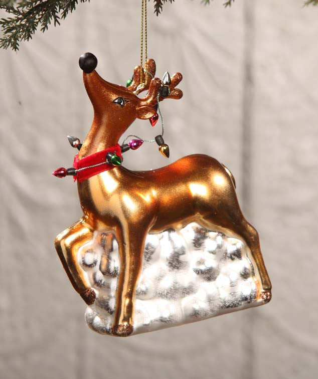 Glass Reindeer Ornament With Lights