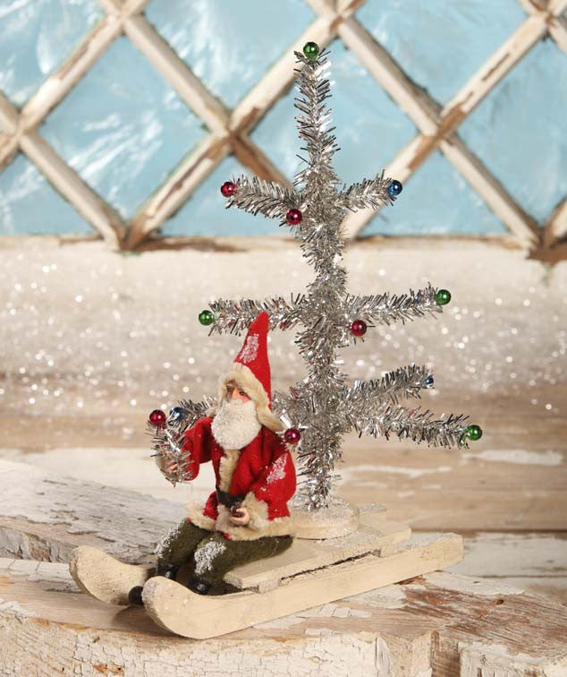 Santa On Sled With Tinsel Tree