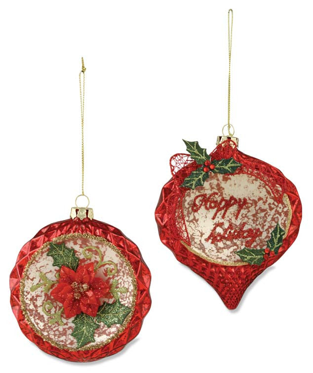 Poinsettia Glass Ornaments