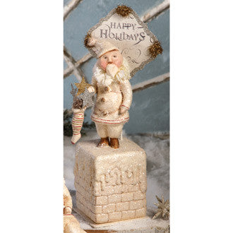 Santa with Stocking on Chimney