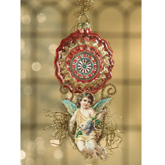Fanciful Glass Clock with Angel