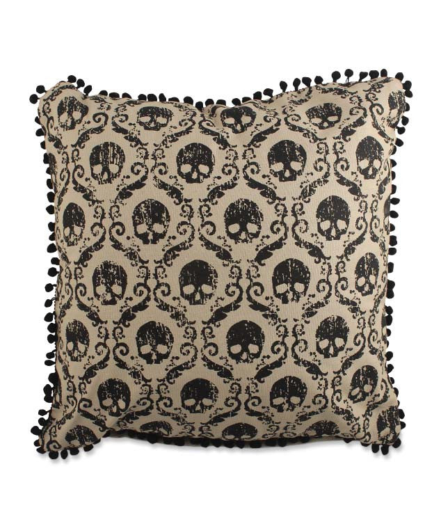 Damask Skull Wallpaper Pillow