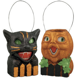 Cat & Pumpkin on Fence Lanterns
