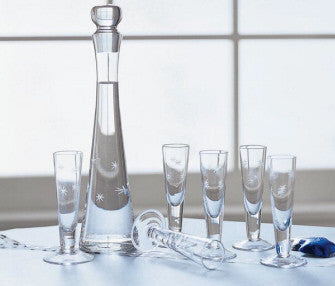 Stars Etched Glass Decanter & Cordials Set