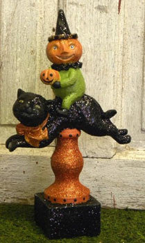 Pumpkin Man Riding Cat
