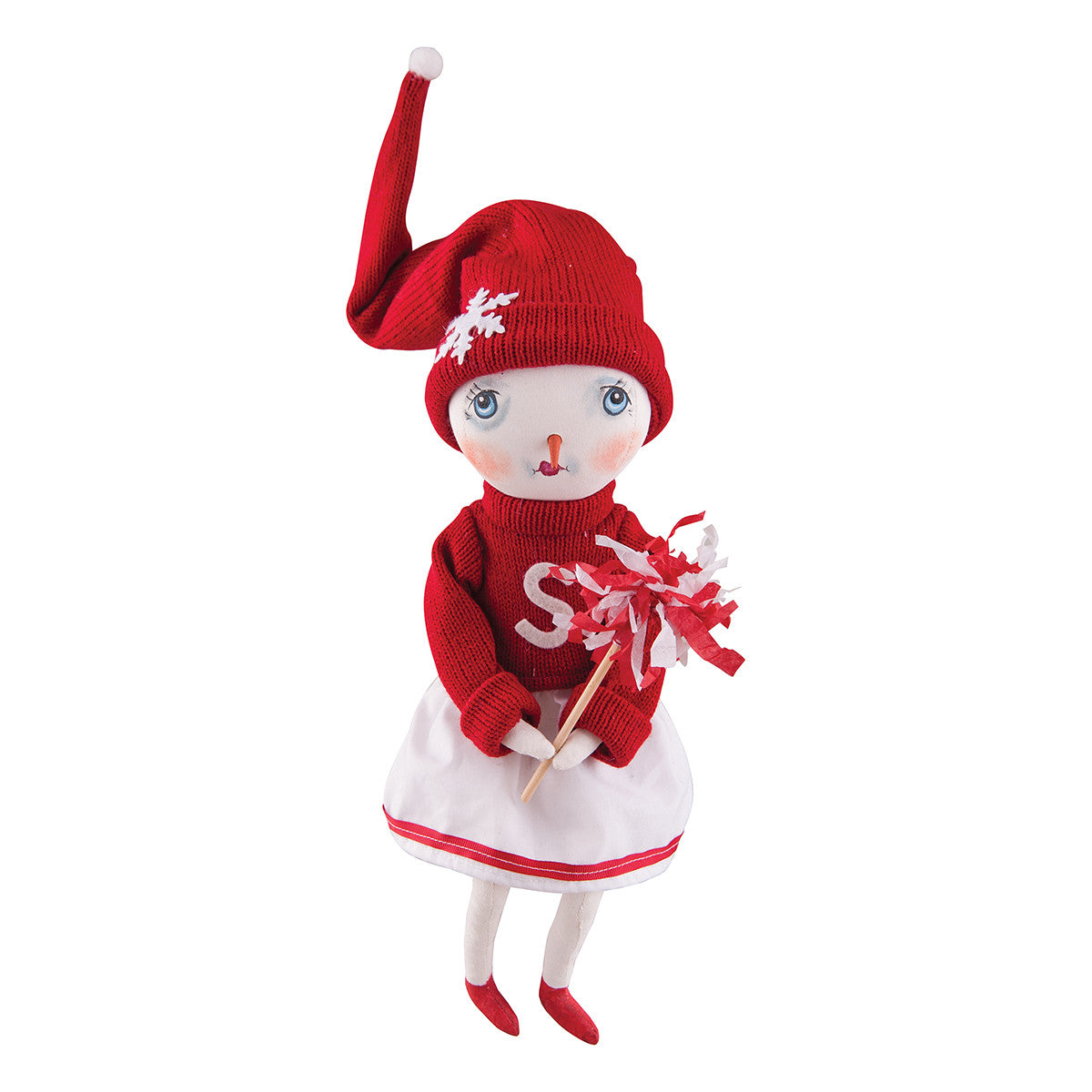 Joe Spencer Holly Team Snow Lady Cheerleader Snowman Doll