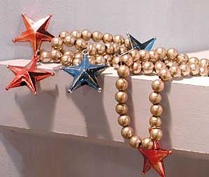 Silver Beaded Star Garland
