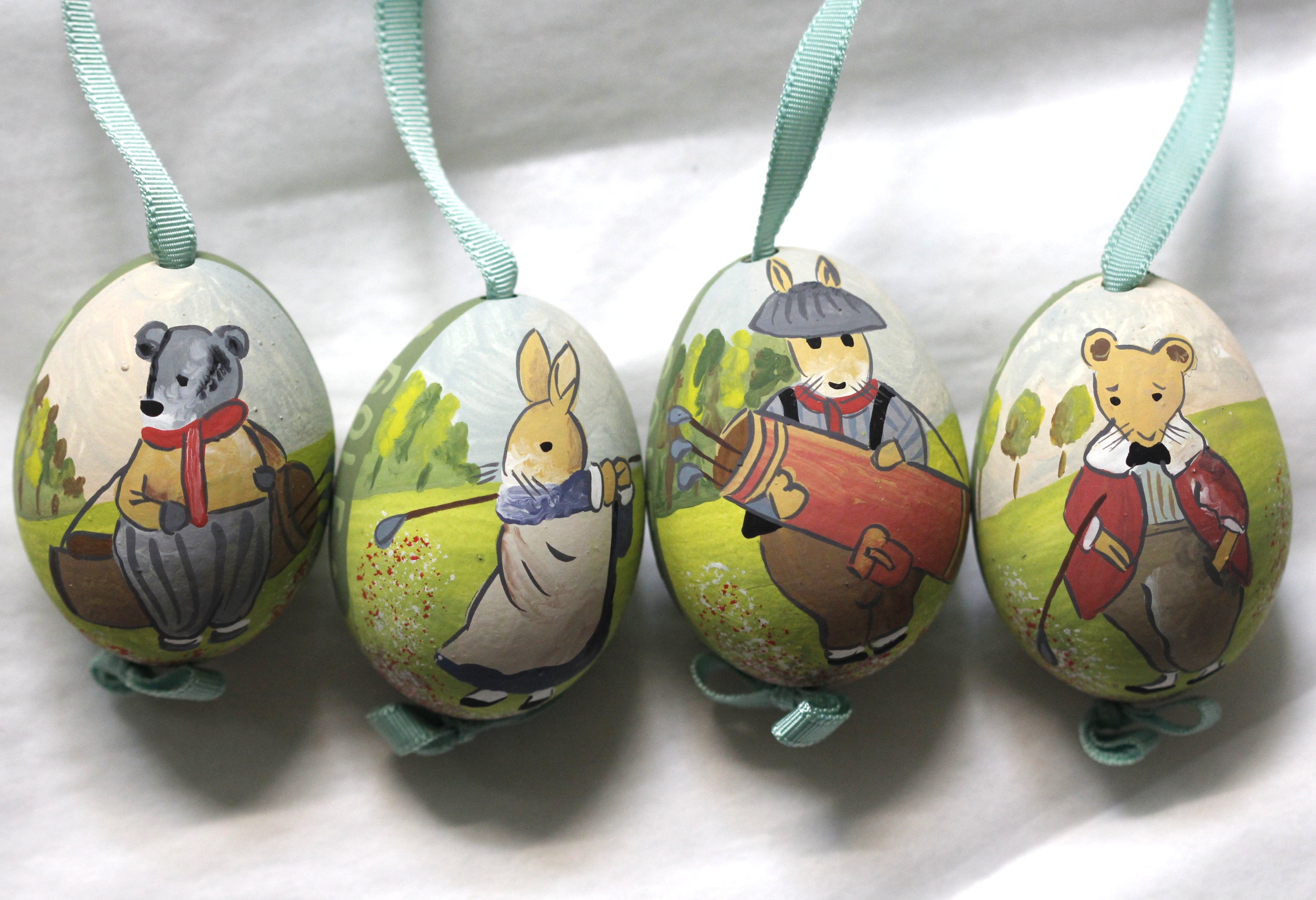 Hand-Painted Garden Golfers Egg Ornaments