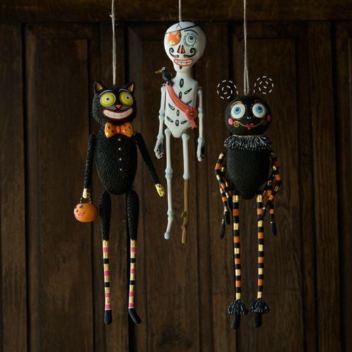 Glitterville Halloween Ornaments - Spider - Skeleton - Black Cat