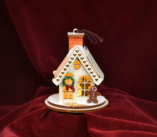 Gingerbread Cottage Balsa Wood Ornament