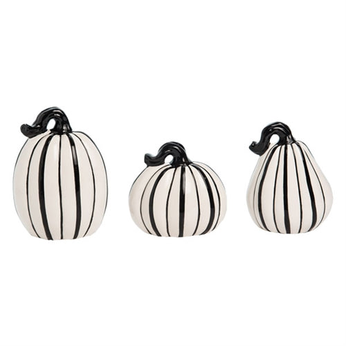 Black & White Stripe Pumpkins, Ceramic