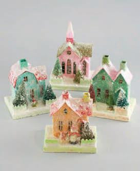 Pastel Putz House Ornaments