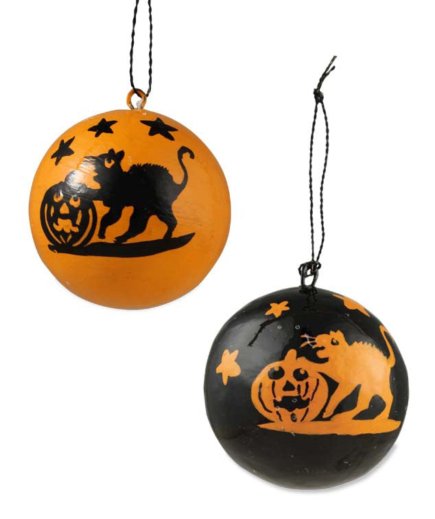 Halloween Cat Silhouette Ball Ornaments