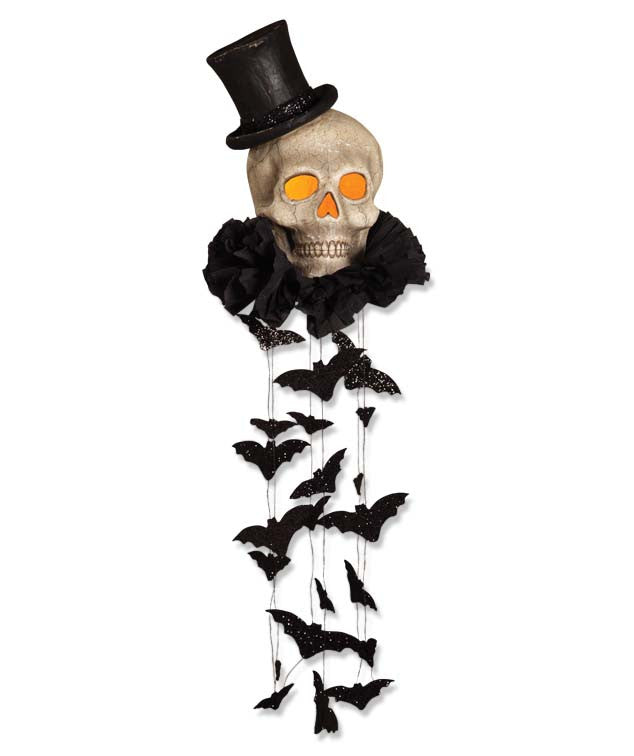 Haunted Skull with Top Hat Mobile with Bats