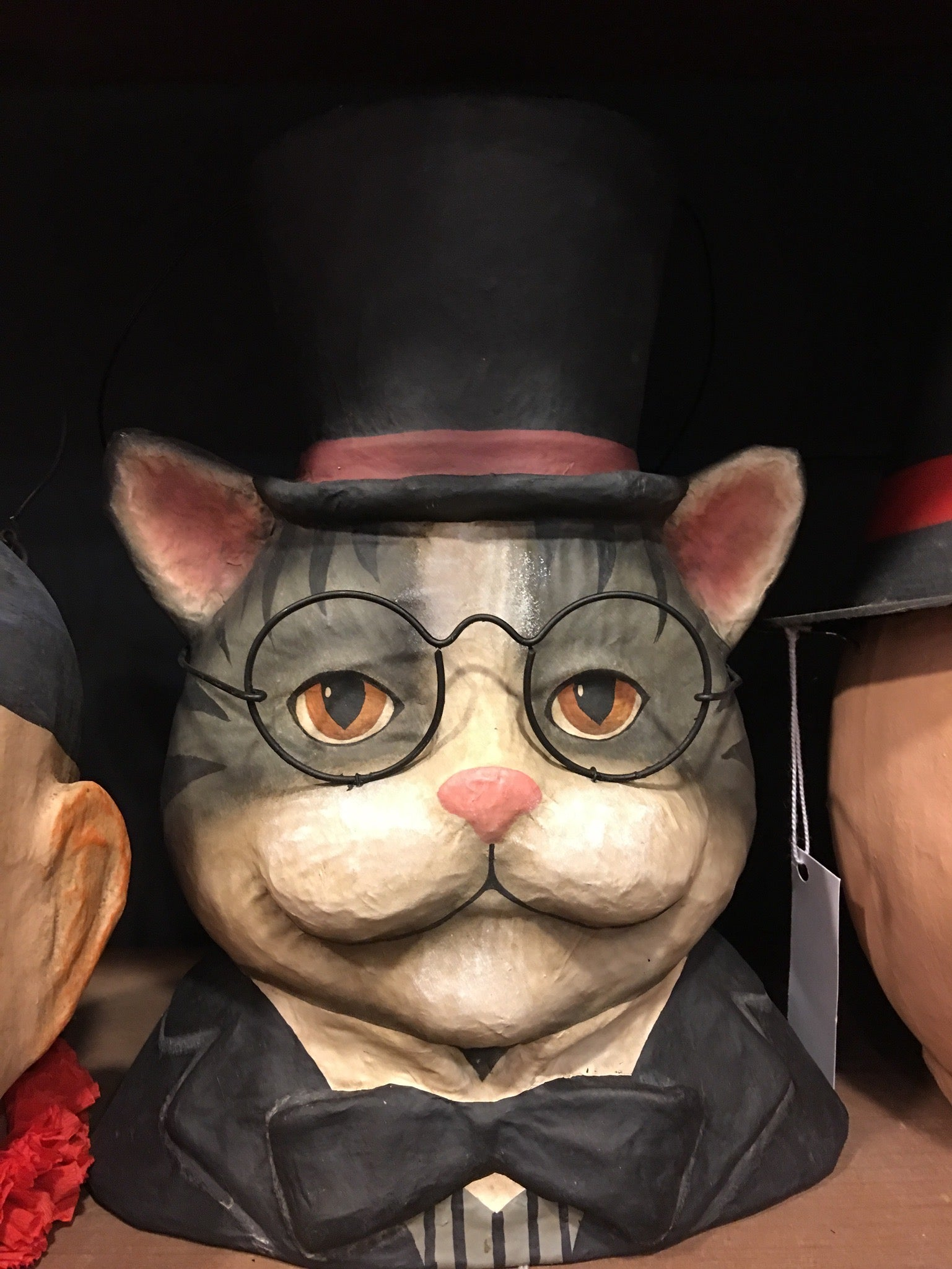 Smart Cat in Top Hat Paper Mache Bucket