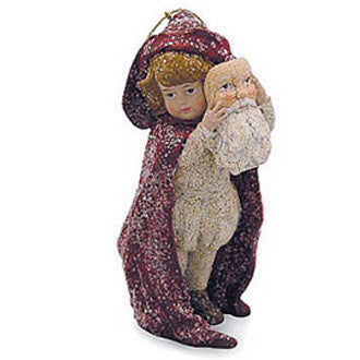Child with Santa Mask Ornament