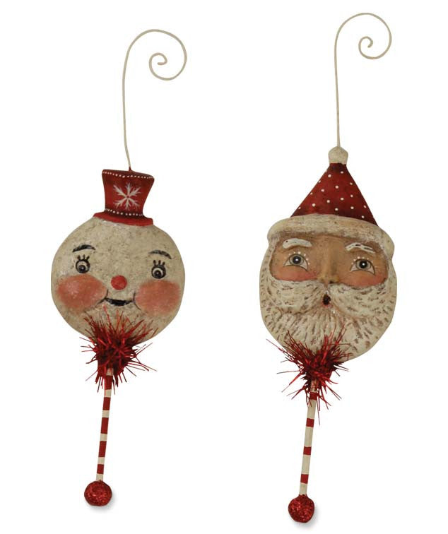 Holiday Santa and Snowman Rattle Ornaments by Johanna Parker