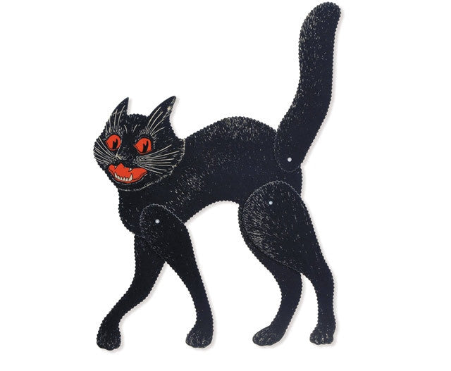 Jointed Scratch Cat | Retro Halloween Decoration