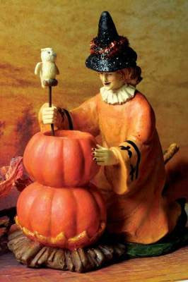 Witch with Pumpkin Cauldron