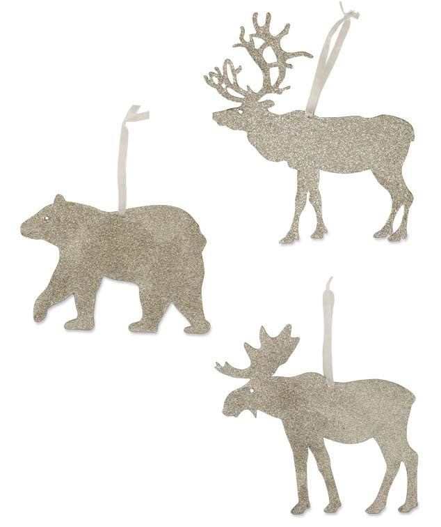 Platinum Glitter Woodland Animal Ornaments