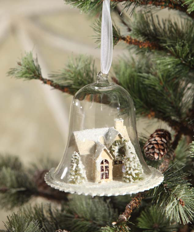 1fa9f6f88c19bd Woodland Cottage In Cloche Ornament - TheHolidayBarn.com