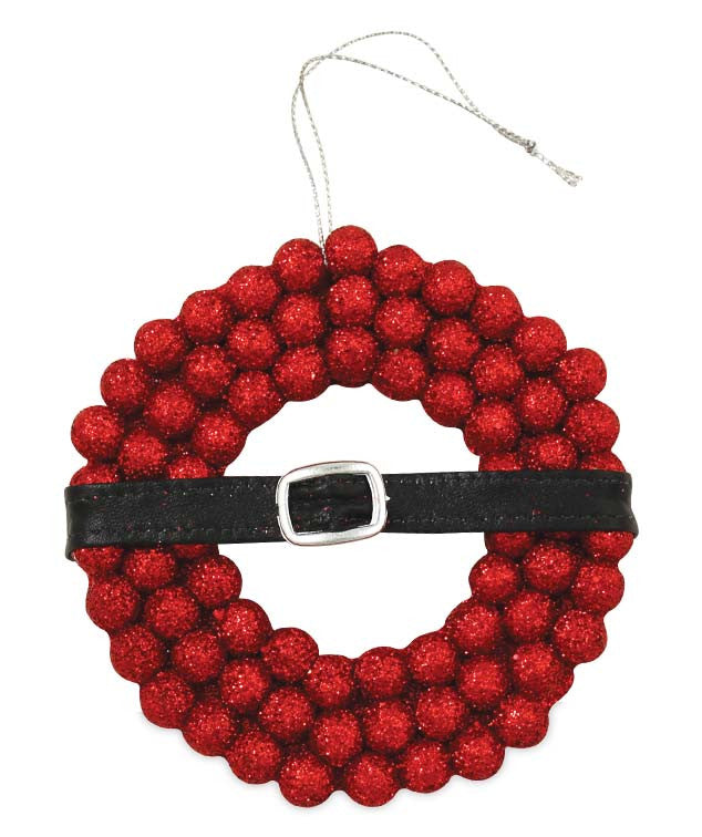 Retro Santa Belt Wreath Ornament