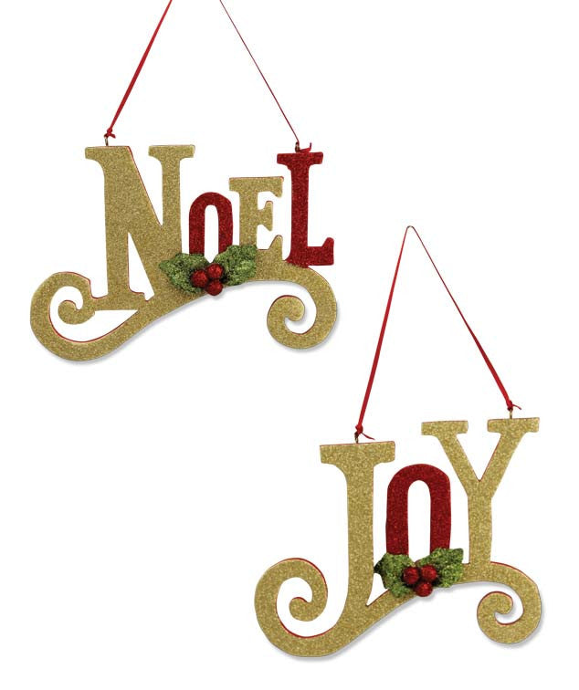 Noel & Joy Glittered Ornaments