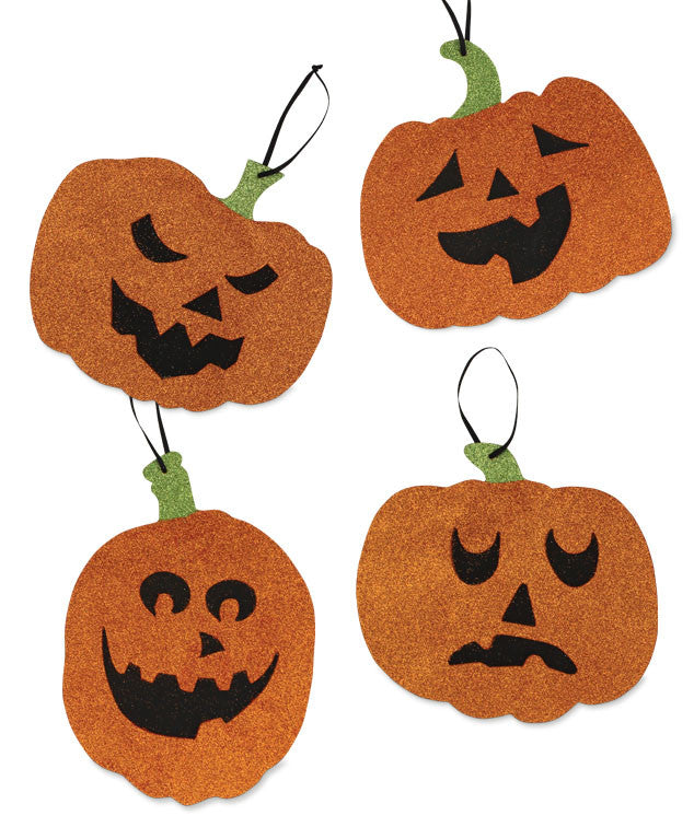 Glittered Pumpkin Face Ornaments