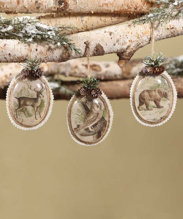 Woodland Oval Paper Ornaments