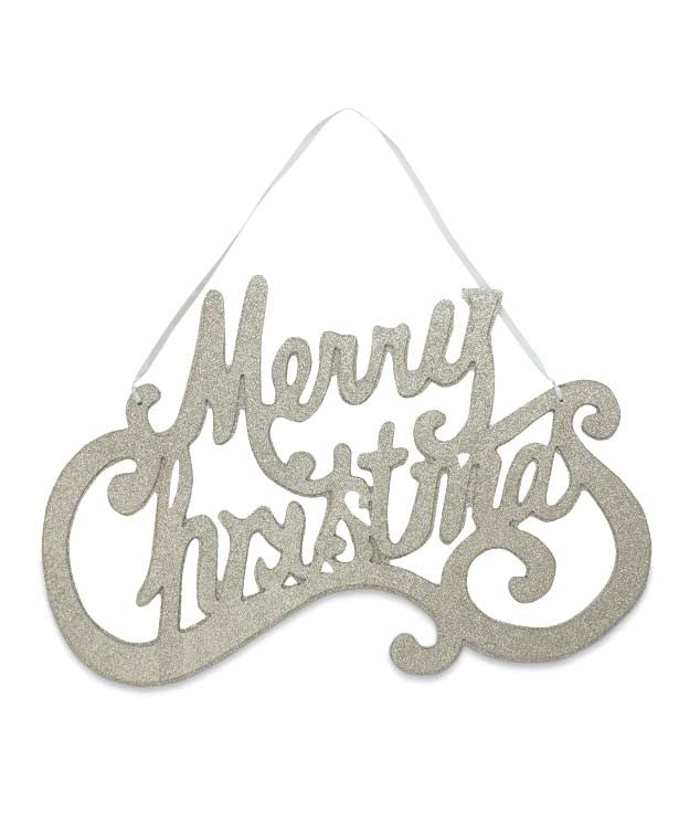 Platinum Glittered Merry Christmas Sign