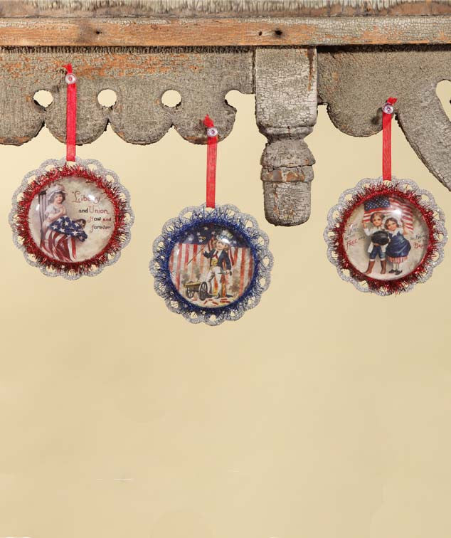 Americana Image Ornaments - Bethany Lowe 4th of July