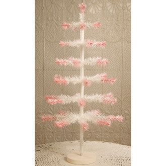 "24"" Ivory Feather Tree with Pink Tips"