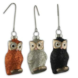 Halloween Glitter Owl Ornaments