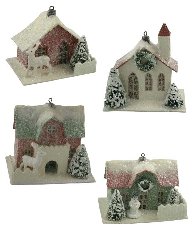 Traditional Paper House Ornaments - Christmas Putz Houses