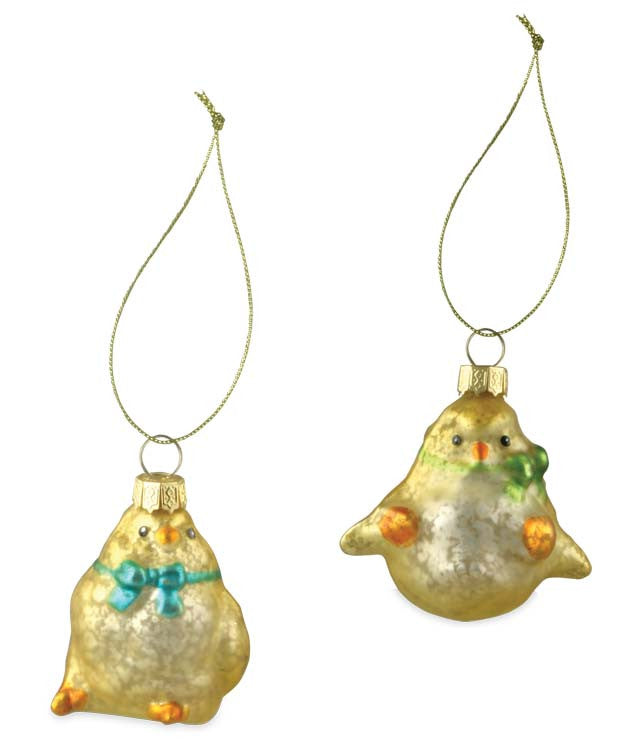 Glass Chick Ornaments