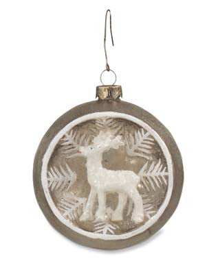 Silver Indent Ornament with Deer
