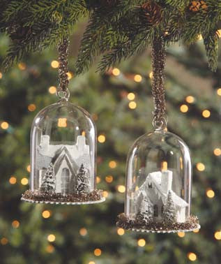 Ivory Cottage Cloche Ornaments