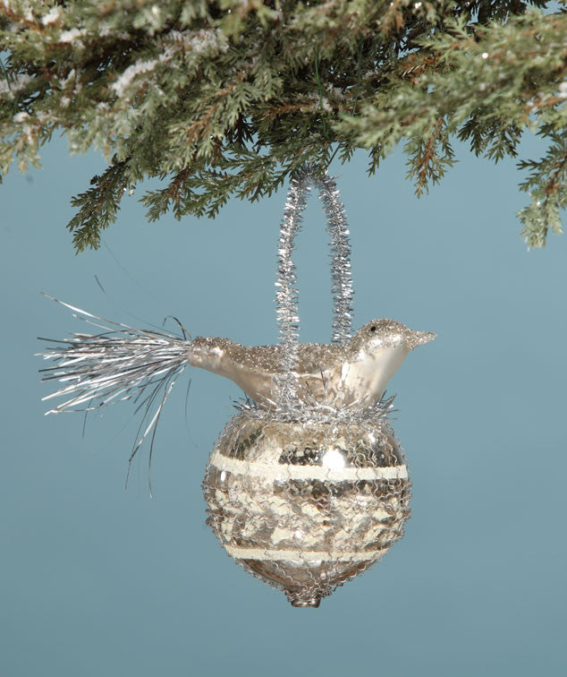 Glass Bird In Nest Platinum Ornament