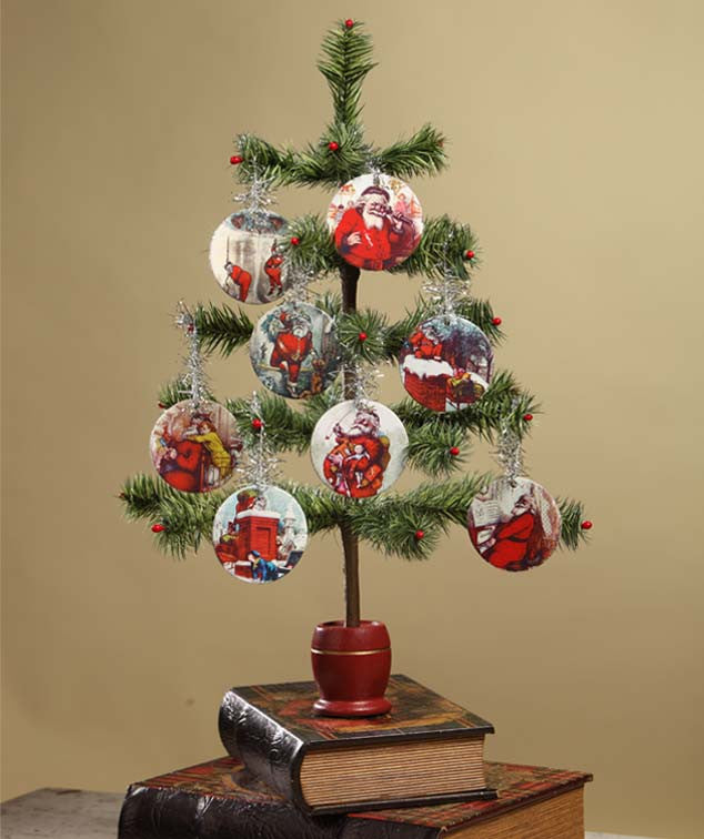 Nast Santa Disc Ornaments