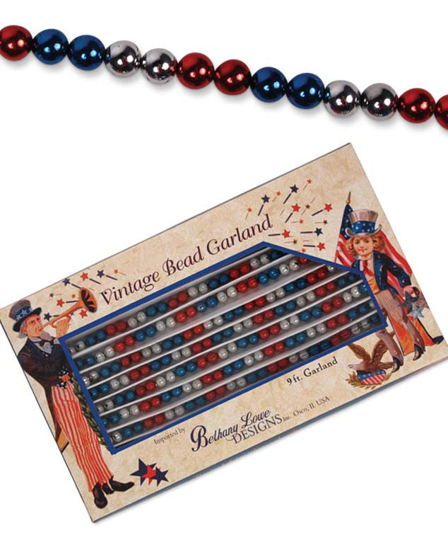 Americana Garland - Bethany Lowe Red Silver & Blue Bead Garland